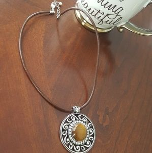 Jewelry - 🍁🔸️Tigers Eye🔸️ Leather pendant necklace